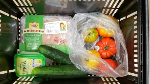 Ingredients for Chicken, Tomato and Cucumber Dinner Salad in a shopping basket