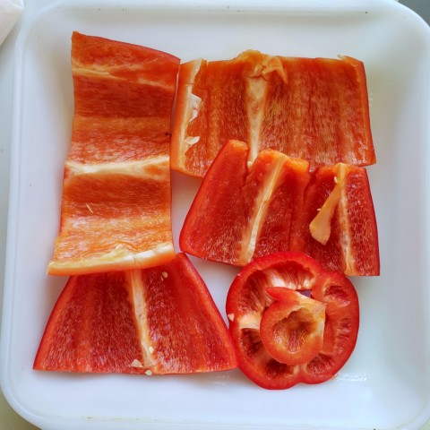 Start with a layer of peppers