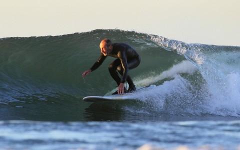 Andrew Shaner surfing Topanga