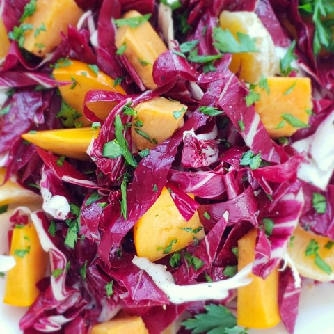 Beautiful Radicchio and Roasted Sweet Potato Salad with Persimmons and Tangerines