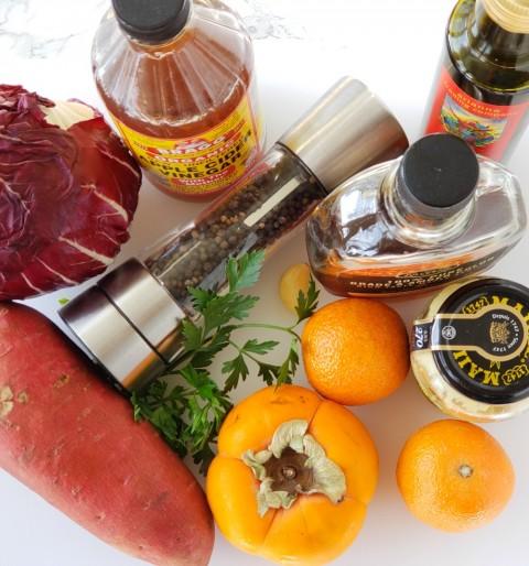 Ingredients for Radicchio and Roasted Sweet Potato Salad on ShockinglyDelicious.com