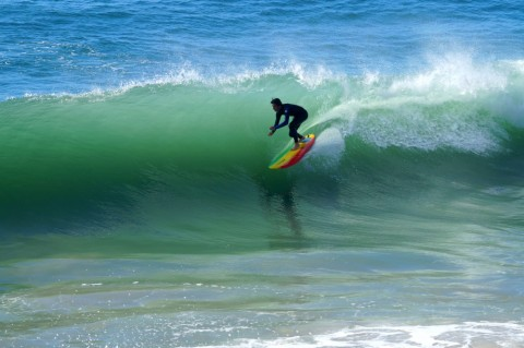 Nick Reinhold surfing Topanga Shorebreak
