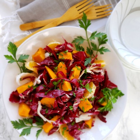 Radicchio and Roasted Sweet Potato Salad with Persimmons and Tangerines