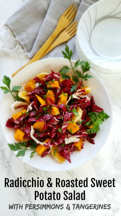 Radicchio and Roasted Sweet Potato Salad with Persimmons and Tangerines on ShockinglyDelicious.com