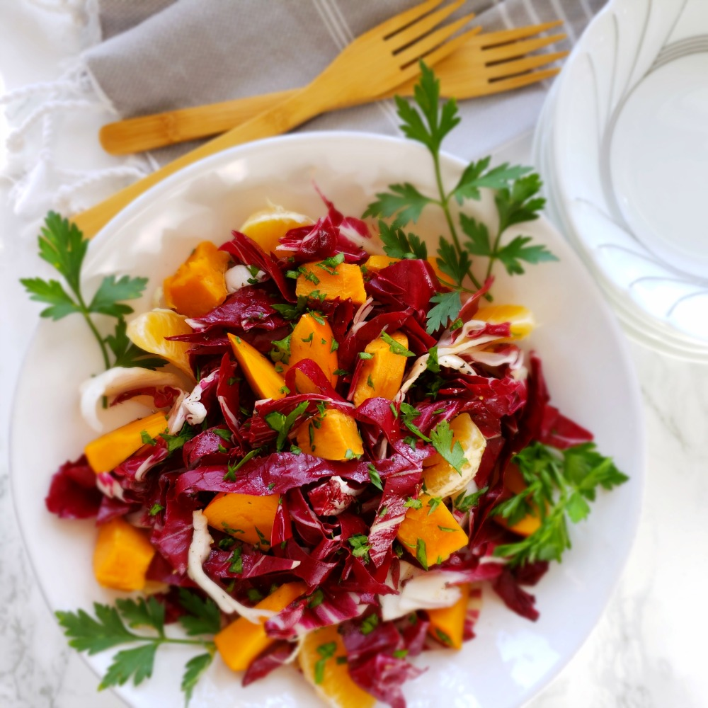 Radicchio And Roasted Sweet Potato Salad With Persimmons And Tangerines Vegetarian Vegan Shockingly Delicious