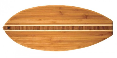 Surfboard cutting and serving board by Totally Bamboo