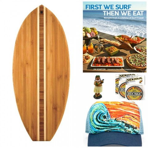 Gifts for surfers: We're stoked on these charming gifts for the surfer or surfer-wannabe in your life -- a surfer cookbook, arty hat, bamboo cutting board, ukulele dashboard doll and coconut air freshener.