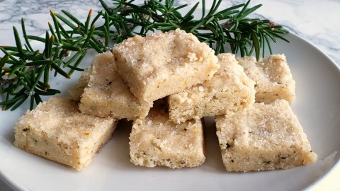 Rosemary Shortbread, a simple sweet cookie with savory undertones from the rosemary, surprises on a holiday cookie tray, or any time of the year when you want a unique sweet.