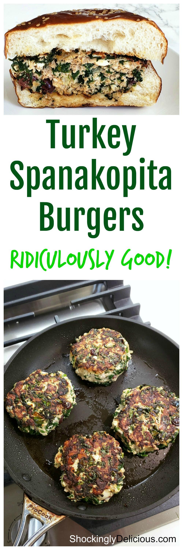Best Turkey Spanakopita Burgers on ShockinglyDelicious.com