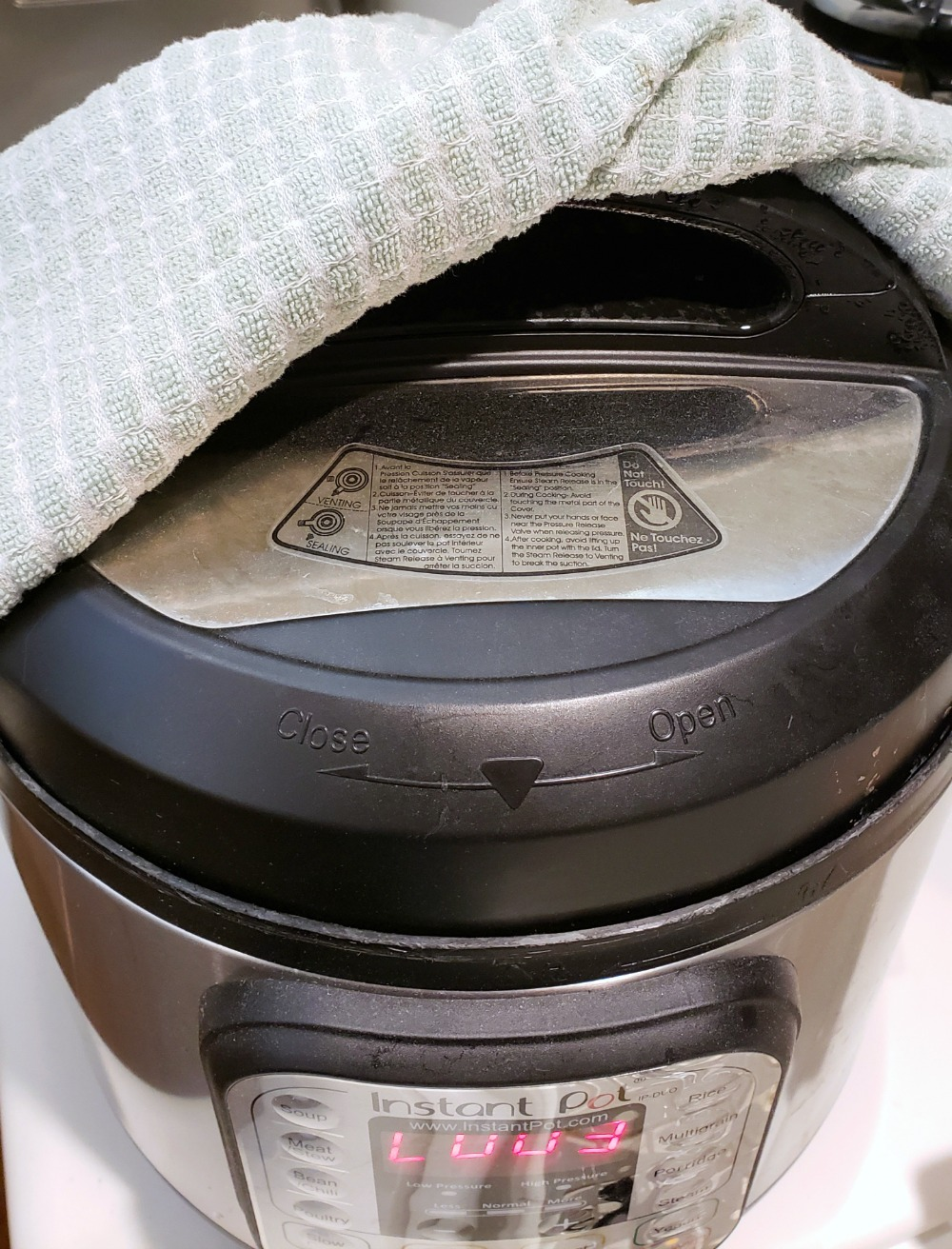 Towel over the steam vent on the Instant Pot