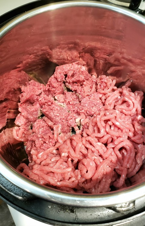 Saute the meats for Sloppy Joes