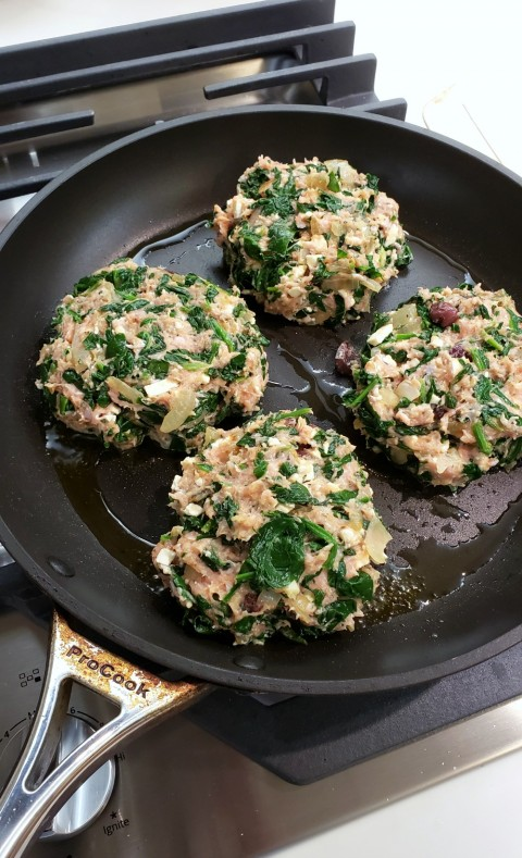 Turkey Spanakopita Burgers in the skillet on ShockinglyDelicious.com