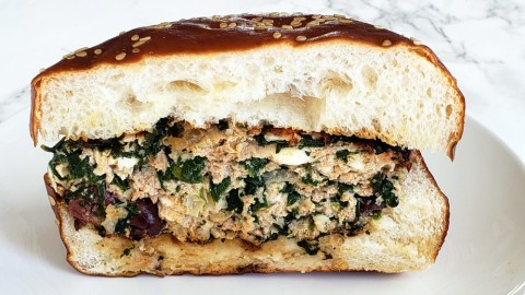 Ridiculously Good Turkey Spanakopita Burgers are the best burger you'll ever eat. They're full of classic Greek ingredients like feta, Kalamata olives and healthy spinach that keep them moist and elevate ho-hum ground turkey to juicy, satisfying, burger perfection.