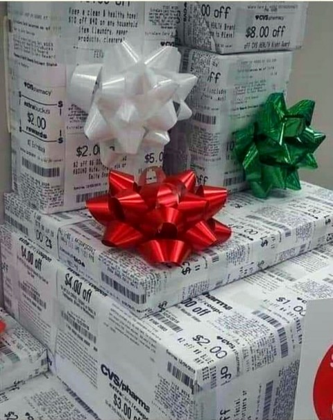 Use CVS receipts for wrapping paper