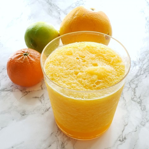 A cooling, soothing, cooling, citrusy slushy that will tame a sore throat, offer extra Vitamin C for an impending cold, and make everything better. This is good for what ails you.