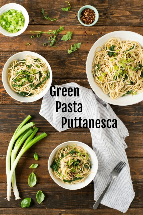 Green Pasta Puttanesca on ShockinglyDelicious.com