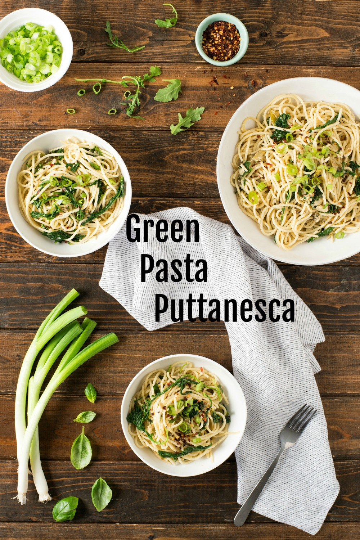 Green Pasta Puttanesca on ShockinglyDelicious.com