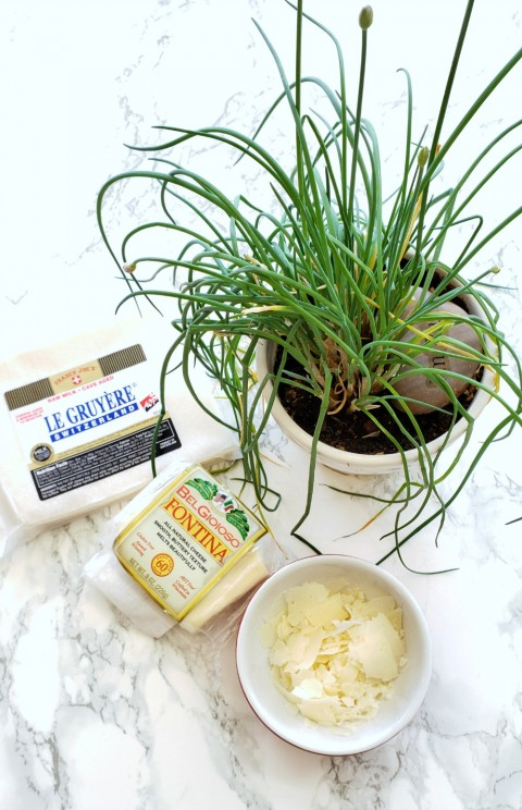 3 cheeses and chives for the Cheesy Fondue Spirals on ShockinglyDelicious.com