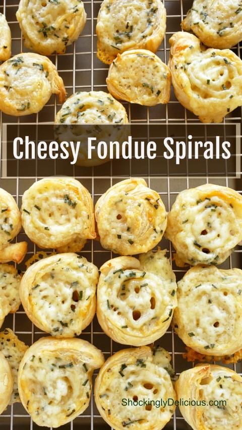 Cheesy Fondue Spirals easy appetizer recipe on ShockinglyDelicious.com