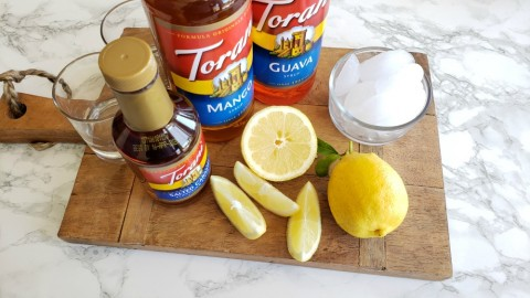DIY Lemonade board with flavored Torani syrups