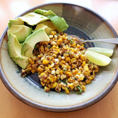 Esquites with avocado for lunch on ShockinglyDelicious.com