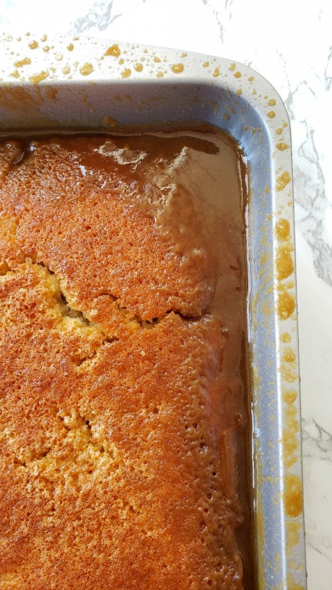 Caramel Sticky Pudding Cake out of the oven on ShockinglyDelicious.com