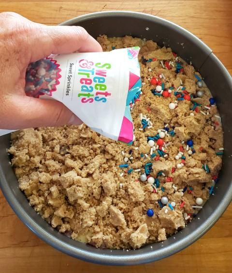 Sprinkles on top of Jam Breakfast Cake with Streusel on ShockinglyDelicious.com