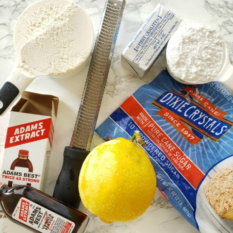 Assemble ingredients for Lemon-Vanilla Shortbread on ShockinglyDelicious.com