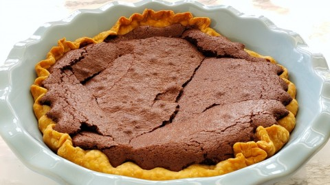 Baked Old Fashioned Fudge Pie on ShockinglyDelicious.com