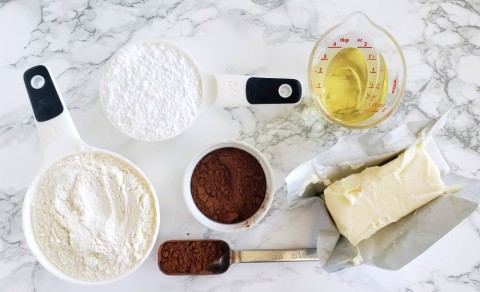Ingredients for Chocolate Shortbread Cookies on ShockinglyDelicious.com