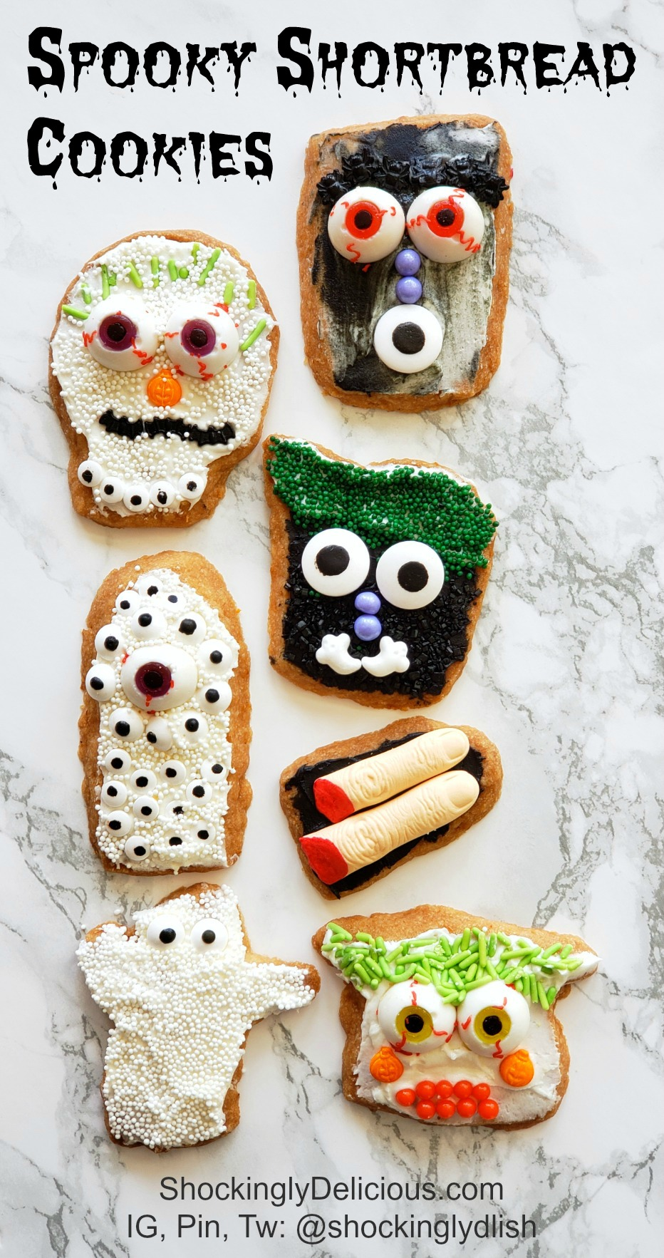 Spooky Shortbread Cookies on ShockinglyDelicious.com