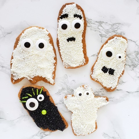 Spooky Shortbread Ghosts on ShockinglyDelicious.com