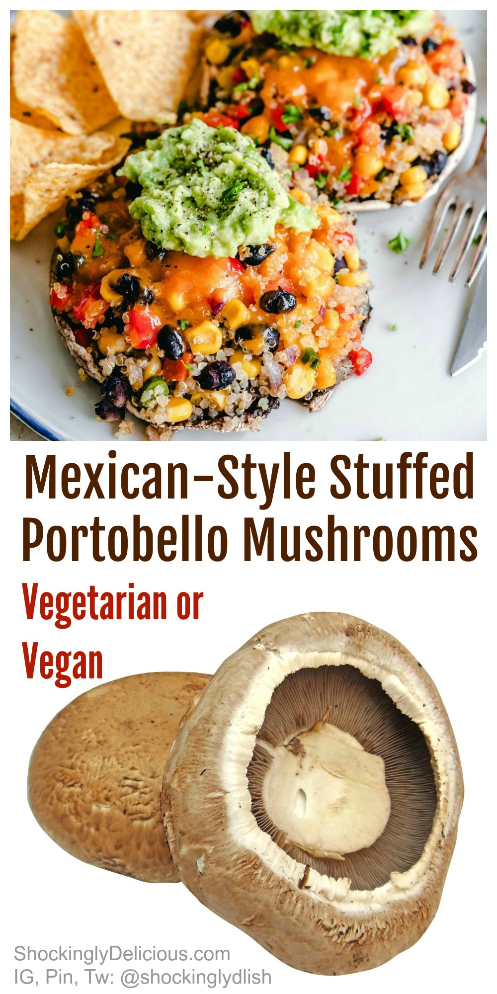 Mexican Style Stuffed Portobello Mushrooms With Quinoa Black Beans And Mashed Avocado Vegetarian Or Vegan Shockingly Delicious