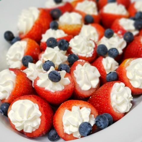 Cream-Stuffed Strawberries on ShockinglyDelicious.com