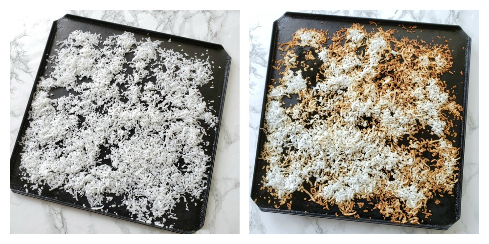 2 pans of coconut on a white counter