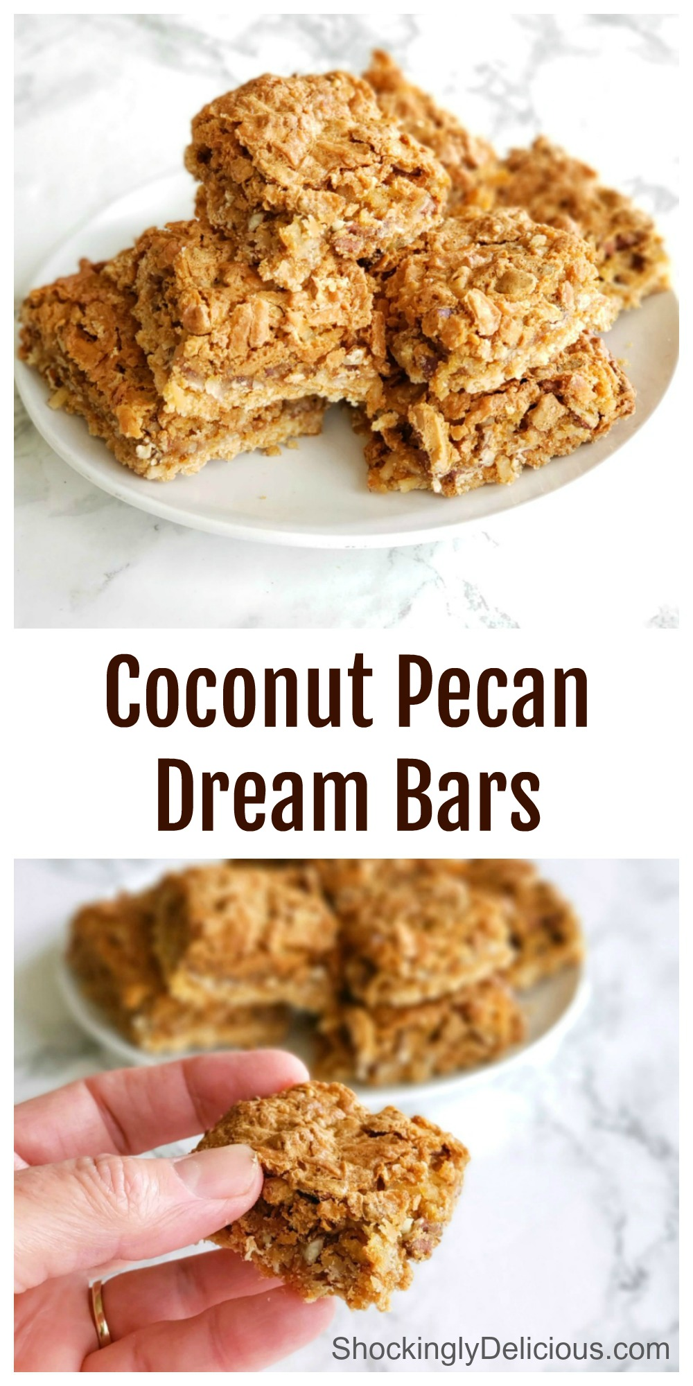 Collage of 2 photos of coconut bars