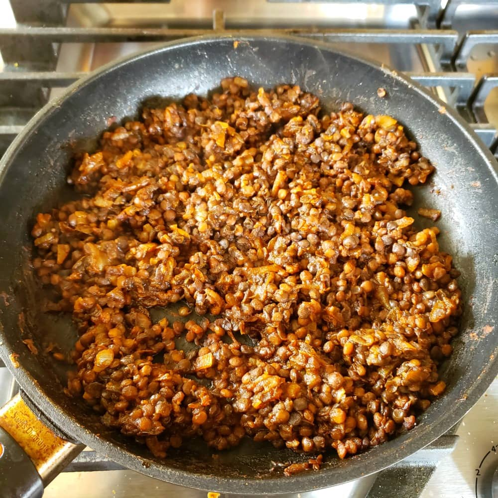 Barbecue Baked Lentils in a skillet on the stove