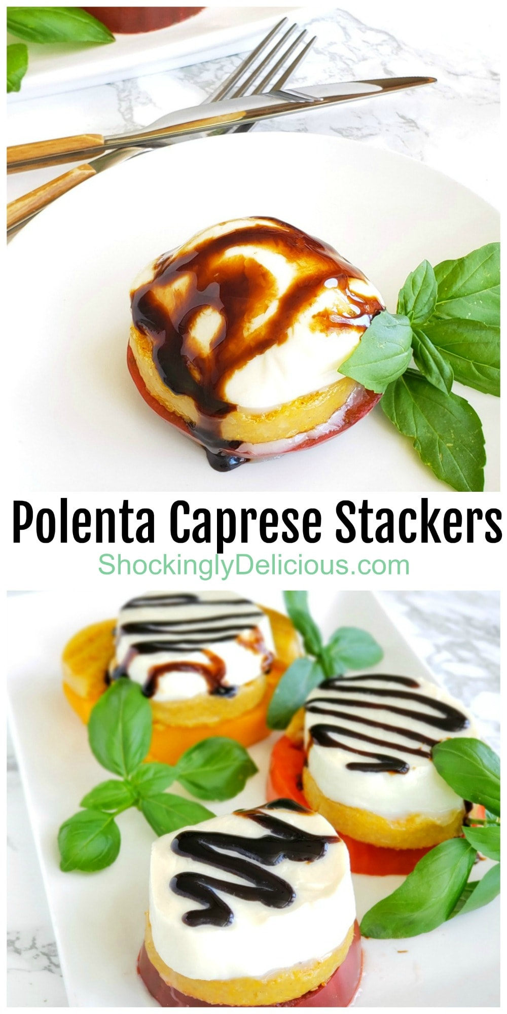Polenta Caprese Stackers for summer photo collage
