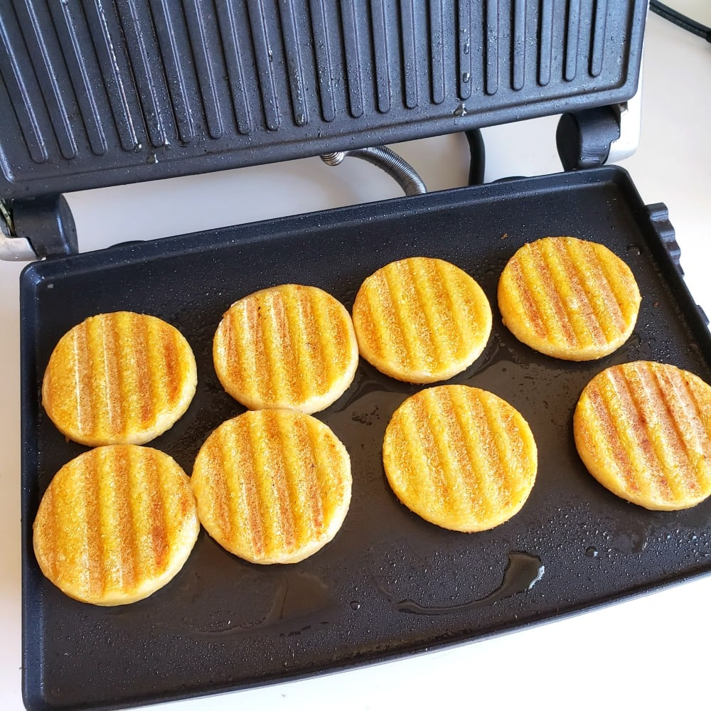 Polenta grilled on the panini press