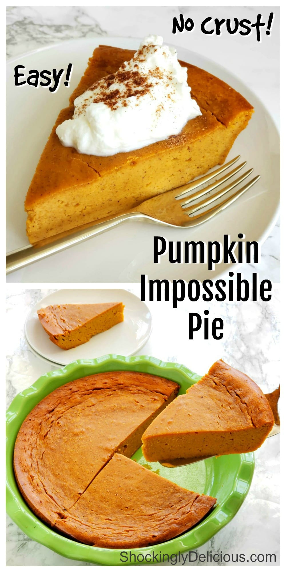 2 photo collage of Pumpkin Impossible Pie on ShockinglyDelicious.com