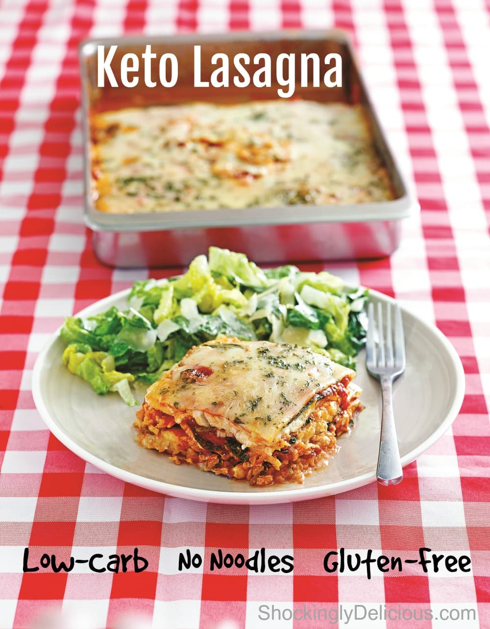 Keto Lasagna on a red checkered tablecloth