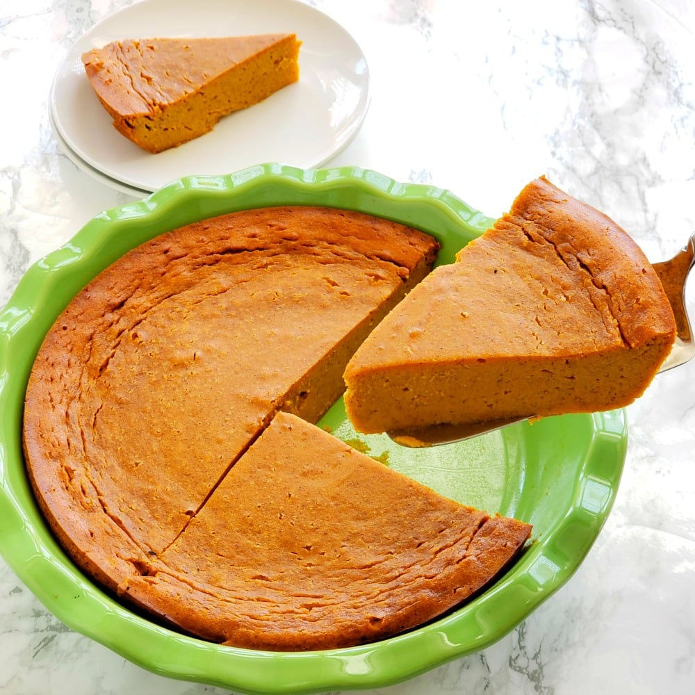 Pumpkin Impossible Pie being served from the pie plate