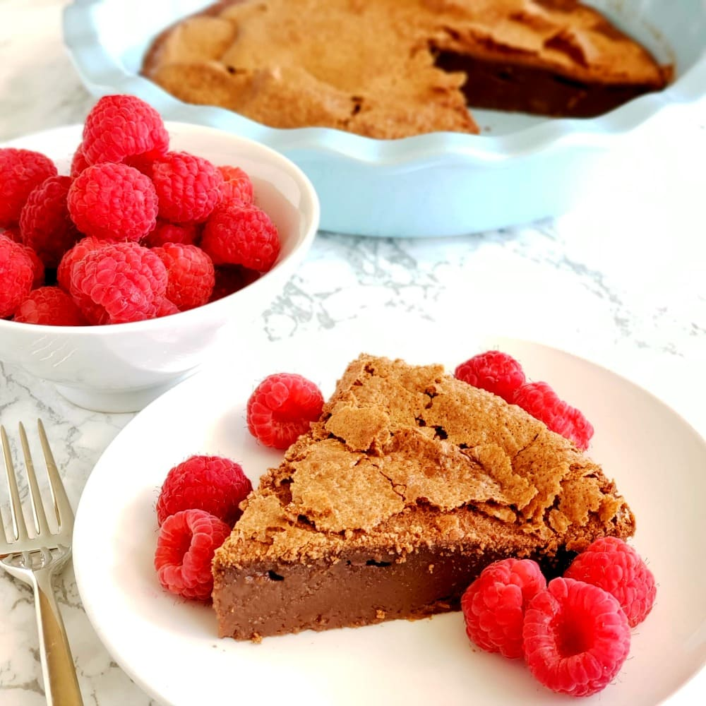 Chocolate Impossible Pie with Raspberries on top