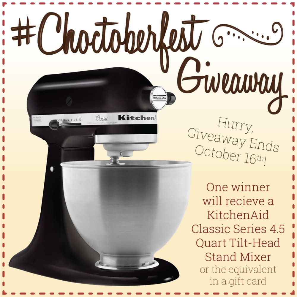 Choctoberfest Giveaway 2020 showing a mixer and wording to enter the giveaway
