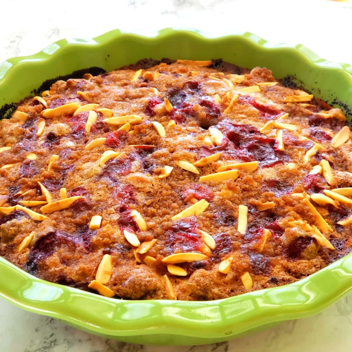 Cranberry Breakfast Cake baked and out of the oven