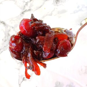 Cranberry Sauce with Caramelized Onions on ShockinglyDelicious.com