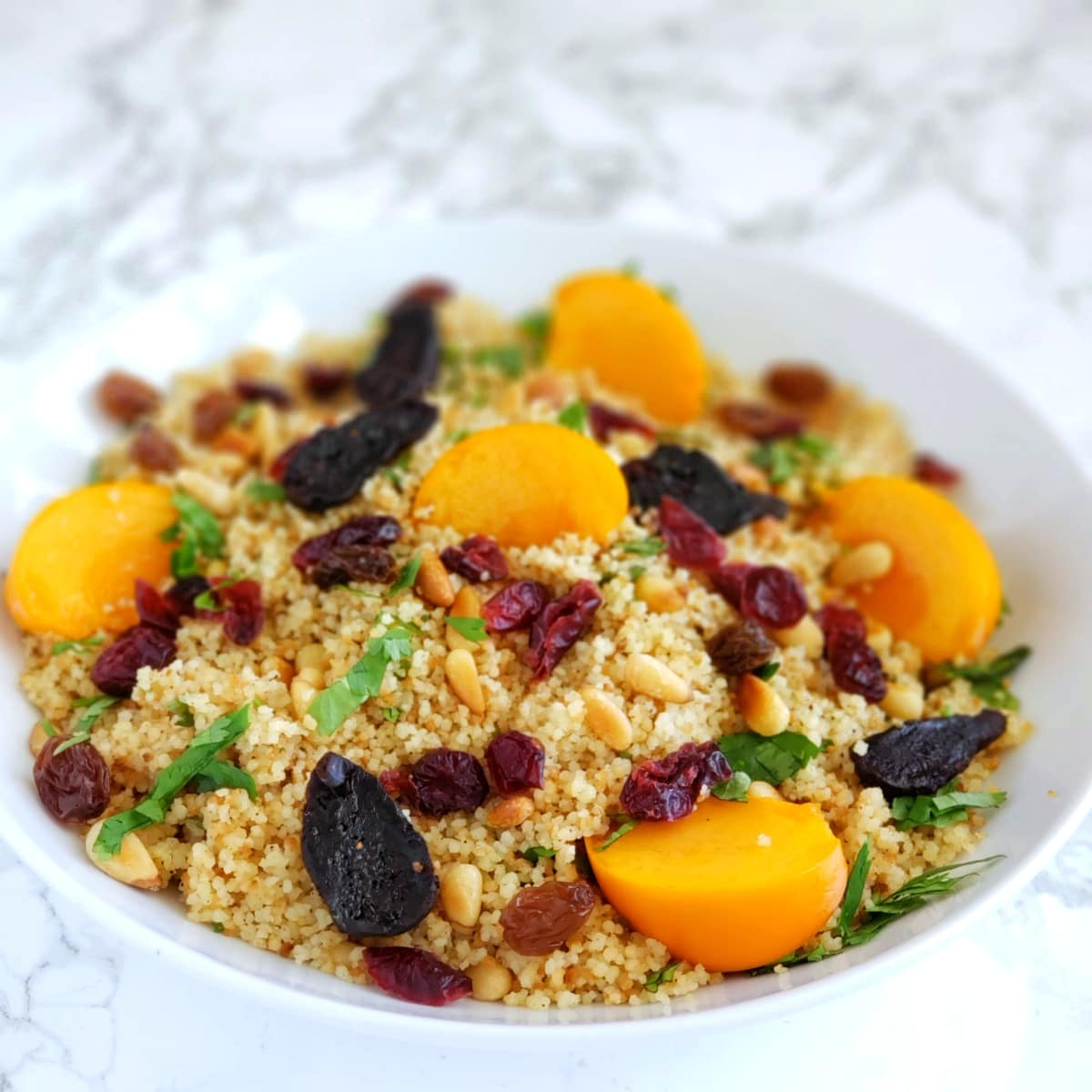 Fruits on top of couscous