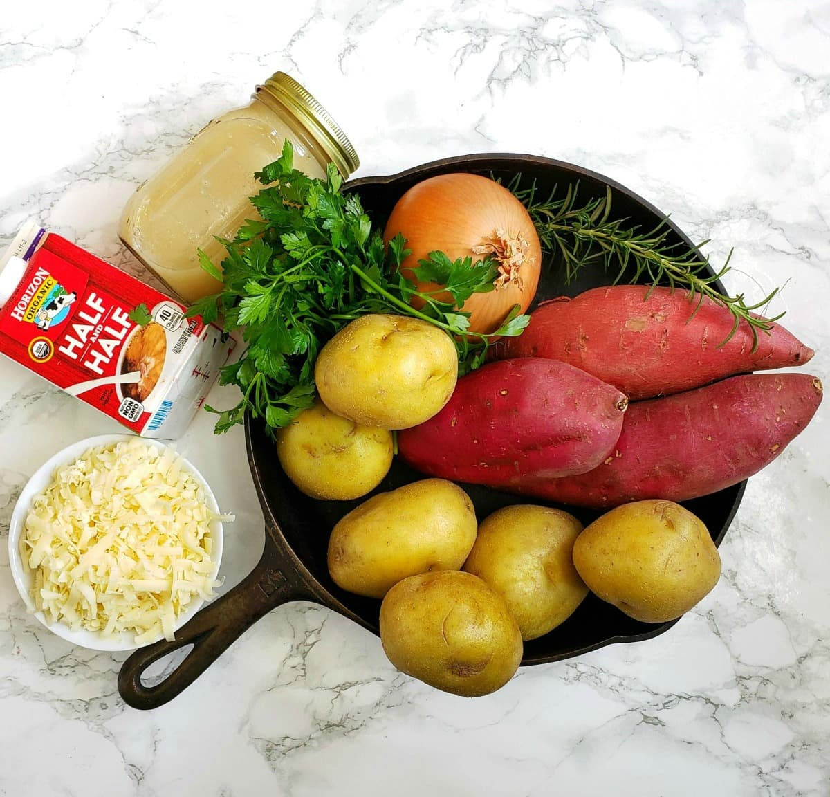 Ingredients for Cheese Herb Potato Gratin