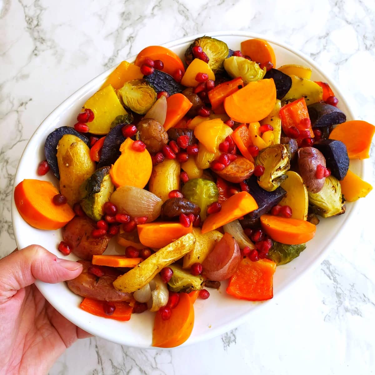 Roasted Rainbow Vegetables vegan side dish