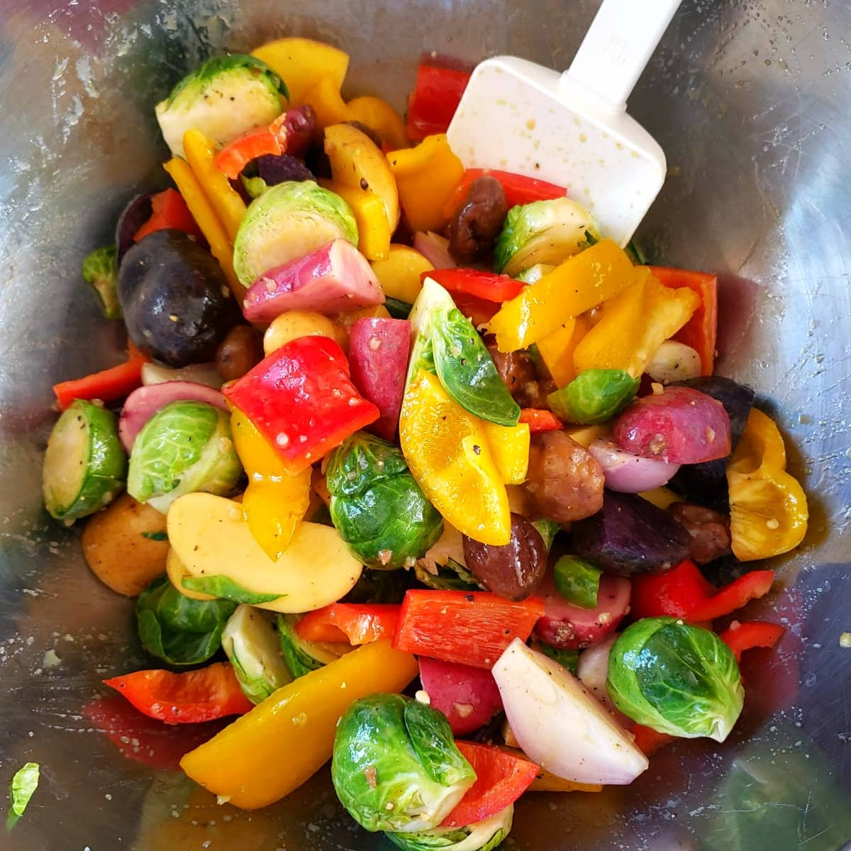 Stir dressing into the vegetables